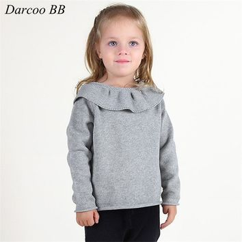 Girls Lotus Leaf Collar Knitting Clothing Yellow Pink Gray Color Autumn Winter Knitted Coat Clothings For Baby Girls