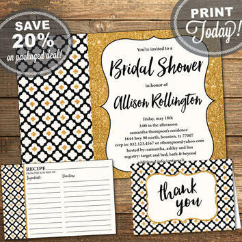 Bridal Shower Package, Invitation, Recipe Card, Thank You Card, Boho, Black Gold, Glitter, Flowers, Geometric, Printable (INSTANT Download)