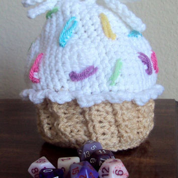 Crocheted Cupcake Purse / Pouch / Dice Bag - Assorted / Custom Colors