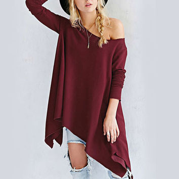 Wine Red Asymmetrical Off The Shoulder Shirt