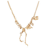 Gilded Dinosaur Fossil Necklace in Gold