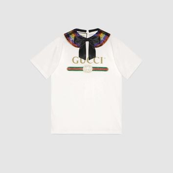 Gucci logo collared cotton T-shirt