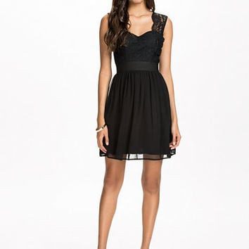 Lace Top Chiffon Dress - Elise Ryan - Black - Party Dresses - Clothing - Women - Nelly.com