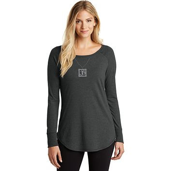 AUM Charm Necklace Triblend Long Sleeve Tunic Yoga Shirt