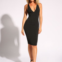 Black Back Caged Plunge Bodycon Dress