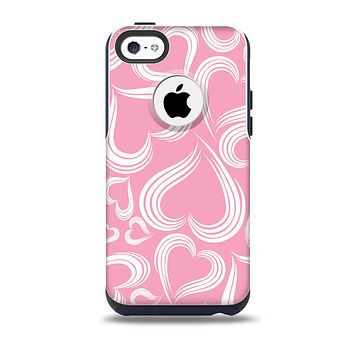 Pink and White Vector Swirly Heart Pattern Skin for the iPhone 5c OtterBox Commuter Case