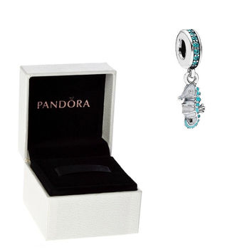 1x Authentic Pandora S925 Sterling Silver Summer Seahorse Charm Bead w/ Box Free Shipping Worldwide Gift Bridal Weddings Brides Jewelry