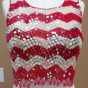 Vintage 80s Handmade Beaded Crochet Sequin Crop Top Tank Chevron Stripes Bling GLAM Boho Hippie FESTIVAL One Size S M L