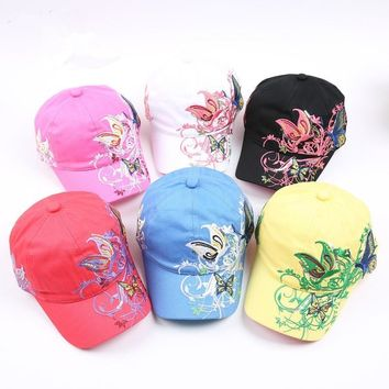 Trendy Winter Jacket Baseball Caps 2018 New High quality Butterflies and flowers embroidery Summer and fall caps fashion Girls baseball hat AT_92_12