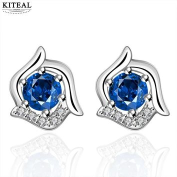 Silver Plated Floral Stud Earrings With Blue Cubic Zirconia