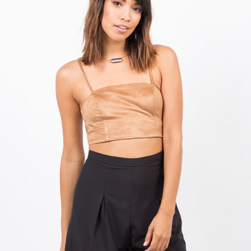 Suede Cami Crop Top
