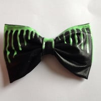 Black Faux Leather Glow in the Dark Dripping Hair Bow Hairbow Wet Look Melting Green Goth Gothic Emo Punk Cyber Dark Lolita Rave Club