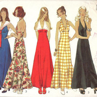 70s Boho Hippie Style Disco Halter Neck Dress Open Back Sailor Collar Simplicity 5349 Sewing Pattern Maxi Length Bust 34