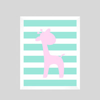 Pink Giraffe on Mint Stripes Print CUSTOM COLORS custom nursery decor baby room baby girl safari animals decor print digital download 8x10