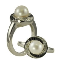 8-8.5mm Freshwater Pearl, Black & White Diamond Ring, in Sterling Silver - Size 7