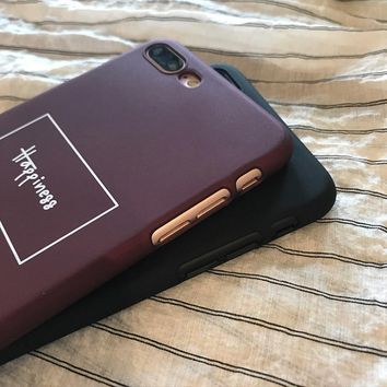 'Happiness' Maroon iPhone Case