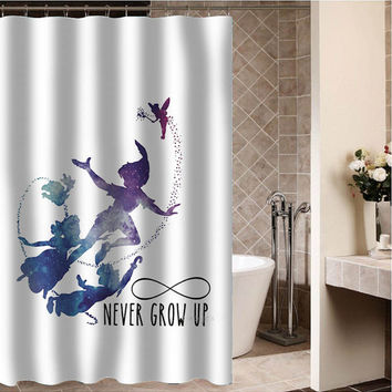 Peter Pan Silhouette Never Grow Up Custom Shower CurtainSizes A