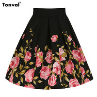 Tonval Rose Floral Print Vintage Skirts 2016 Womens Casual Midi Skirt Rockabilly Petticoat Party Elegant Flowers Swing Skirts