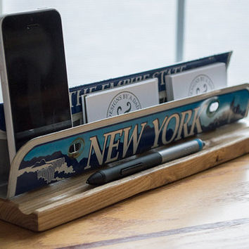 Business Card Holder - License Plate Desk Organizer - Desk Phone Stand - Metal Business Card Holder - New York - Desk Organizer - NY