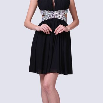 Beaded High Neck Cocktail Dress Black Side Cut Outs Chiffon