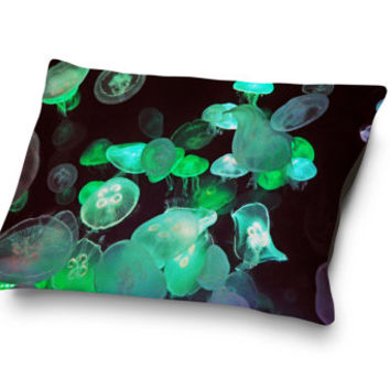 Green Moon Jellyfish - Pet Bed, Black Ocean Nautical Home Accent, Dog & Cat Bedding Beach Surf Style Home Decor. In 18x28 30x40 40x50 Inch