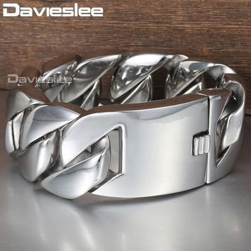 Davieslee 31mm 21cm Polished 316L Stainless Steel Bracelet for Men Silver Color Curb Cuban Link Unisex Men's Jewelry DLHB23