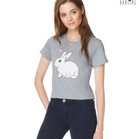 Womens Tokyo Darling Rabbit Crop Graphic T-Shirt