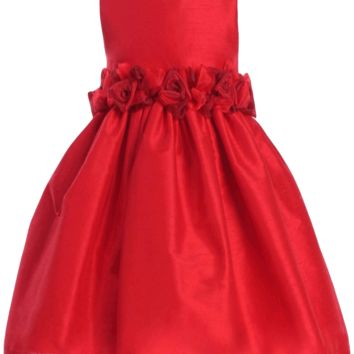 Red Poly Silk Holiday Dress with Organza Flower Waist (Girls 2T to Size 8)