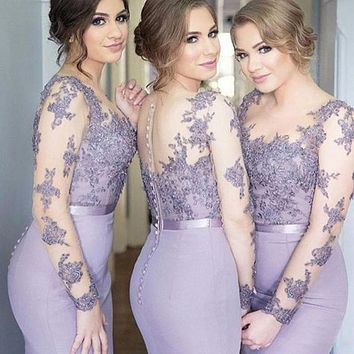 2016 Lace Mermaid Bridesmaid Dresses with long sleeves Scoop Neck new Floor Length A Line Wedding Maid of Honor bridesmaid dress