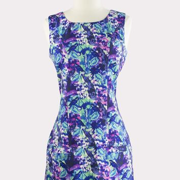 Peacock Print Pocket Dress
