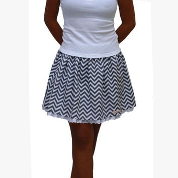 Grey White Chevron Skirt / Summer Grey Chevron Mini Skirt with Lace / OOAK