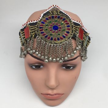 Kuchi Headdress Headpiece Afghan Ethnic Tribal Jingle Alpaca Silver Glass,CK638