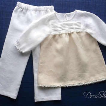 4 years girls linen pajamas Ivory and pale yellow soft  fabric Full lenght bottom 3/4 length sleeve