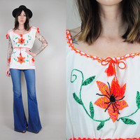 vtg 70's EMBROIDERED Neon FLORAL Cotton Gauze Ethnic Oaxacan Shirt tunic hippie bohemian