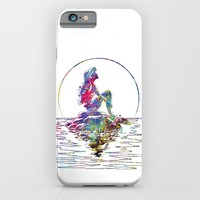 The Little Mermaid Ariel Silhouette Watercolor iPhone & iPod Case by Bitter Moon