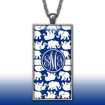 Elephants Monogram Pendant Charm Necklace Navy Personalized Custom Initial Necklace Monogram Jewelry