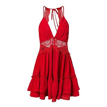 All I Need Red Sleeveless Spaghetti Strap Lace Trim V Neck Cut Out Back Tiered Ruffle Flare Casual Mini Dress - 2 Colors Available
