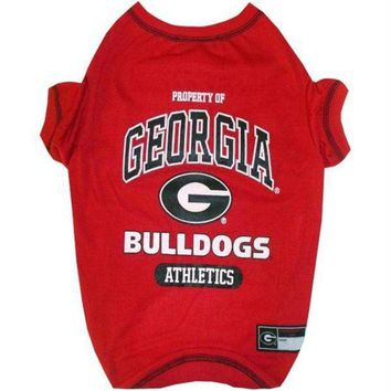 PEAPYW9 Georgia Bulldogs Pet Tee Shirt