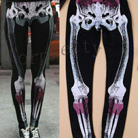 Women Rock Punk Printed Bones Skeleton Tights Leggings KjJ