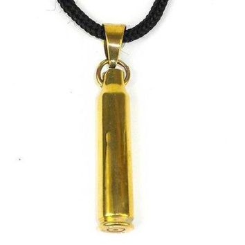 Brass Bullet Shell Pendant on Cord - Craftworks Cambodia
