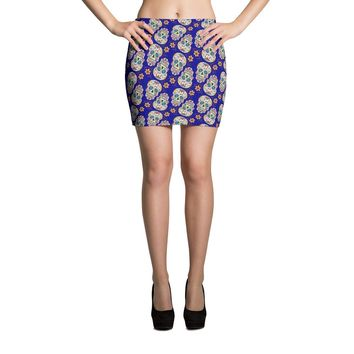Sugar Skull Day of The Dead DARK BLUE Mini Skirt