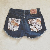 Cat Pocket High Waisted Levis Shorts