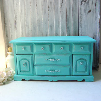 Aqua Blue Vintage Jewelry Box, Teal Distressed Wooden Jewelry Holder, Shabby Chic, Beach Cottage Jewelry Chest, Beach Chic, Gift Ideas