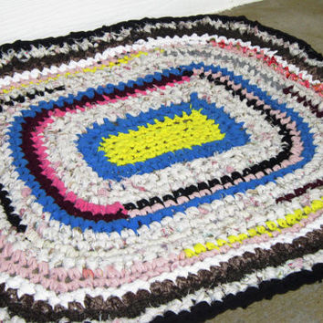 Area Rug Rag Rug Crochet  Rug Repurposed Reclaimed Upcycled Bright Colors 32 x 28