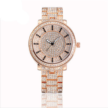 Women's Luxury Full Pave White CZ Round Dial Quartz Watch