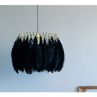 Plumage Black Feather Shade Pendant Lamp