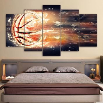 5 piece fire basketball basket ball wall art canvas panel print poster picture