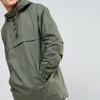 ASOS TALL Overhead Windbreaker with Lace Up Detail in Khaki at asos.com
