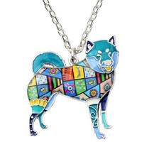 Statement Alloy Shiba Inu Dog Necklace Pendants Enamel Collar Choker Chain New Fashion Animal Pets Jewelry For Women