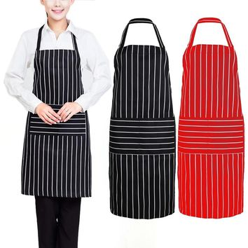 Stripe Kitchen Apron for Women Men Useful Cooking Apron Grid Adjustable Chef Cloth Accessories